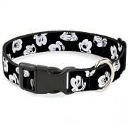 """Buckle-Down Plastic Clip Collar Mickey Mouse Expressions Scattered Black/White 1/2"""" Wide Fits 6-9"""" Neck Small"""