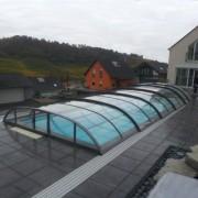 Pooltak Comfort Klarplast Antracit 5,60 x 10,60 m 5 sektioner Vänster