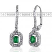 Diamantové náušnice, bílé zlato briliant, smaragd (emerald) a diamanty