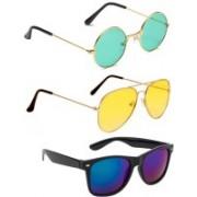 Elgator Aviator, Round, Wayfarer Sunglasses(Green, Yellow, Blue)