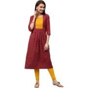 Jaipur Kurti Women's Maroon Cotton A-Line Front Pleated Long Kurta With Pin-Tuck Yoke