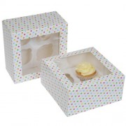 House of Marie Cupcake Box 4 -Confetti- pk/2