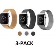 3 Pack Milanese Horloge Band 38MM Voor Apple Watch Series 3 2 & 1 - Watchband Voor iWatch - Milanees Armband Roestvrij Staal - Zwart/Goud/Zilver Kleurig