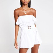 River Island Womens Cream belted bandeau beach playsuit (10)