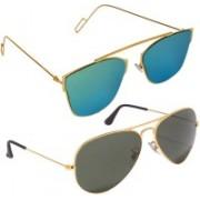 Reyda Aviator, Oval Sunglasses(Black, Green)