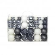 Sonata Комплект коледни топки от 100 части, 6 см, бели/сребро