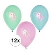 Geen 12x Eenhoorn thema print ballonnen 29 cm