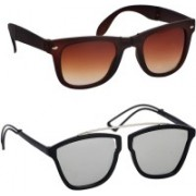 spexra Wayfarer, Cat-eye Sunglasses(Silver, Brown)