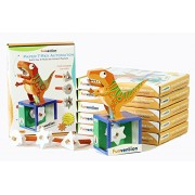 Funvention Pack of 6) Paper T-Rex Automaton 3D Model with 4 Set of Animated Jaw Movements - DIY Science Educational Toy - STEM Learning Kit - Learn with Fun Do It Yourself Innovative Toy Kit for Kids - Birthday Return Gift