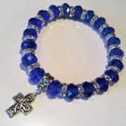 Celtic Cross Bracelet Blue Crystal Charm Stretch