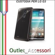 Cover Custodia per LG G3 D855 in Gomma TPU Scura Trasparente