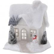 Bellatio Decorations Wit kerstdorp huisje 20 cm type 2 met LED verlichting - Kerstdorpen
