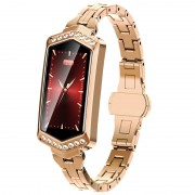 H8 Color Screen Blood Pressure Heart Rate Monitor Smart Bracelet Watch - Gold