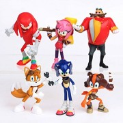 Smart Buy Sonic The Hedgehog, Amy Rose, Tails, Doctor Eggman, Knuckles The Echidna Action Figure Toy Set- 6 Pcs