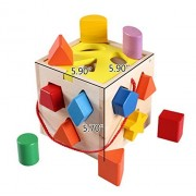 Bestwoohome Wooden Baby Learning Toys 12 Hole Cube Blocks for Shape Sorter