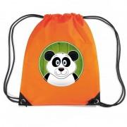 Bellatio Decorations Panda dieren trekkoord rugzak / gymtas oranje voor kinderen