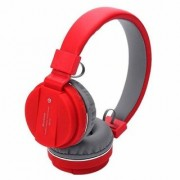 SH-12 Wireless Universal Bluetooth Headphone Headset with FM and SD Card Slot for Music and Calling Control (Red)