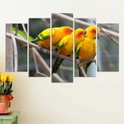 Декоративeн панел за стена с тройка екзотични жълти птици Vivid Home