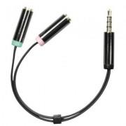 Deltaco 3,5mm hane till 3,5mm mikrofon och stereo hona, 0,1m, svart