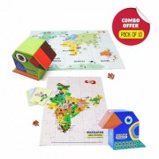 Toiing Puzzletoi Return Gift Combo - Pack of 10 Explorer 3 in 1 Play and Learn Kits (5 India + 5 World)