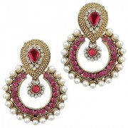 Dark Pink Pearl Polki Earring