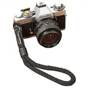 Black OneKnot Cotton/Leather Camera Wrist Strap For Sony Leica Fuji Canon Olympus Nikon Pentax Panasonic Samsung 2060