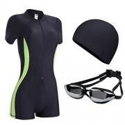 ZXYang Traje de baño Mujer Conservador combinado Gran tamaño Pérdida de peso Vientre Tres piezas Gorro de natación Gafas protectoras (Color : Black green, Size : XL)