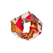Esarfa cu animal print si detalii fashion