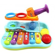 Rainbow Xylophone Piano Pounding Bench For Kids With Balls And Hammer