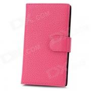 Funda protectora de cuero PU con ranura para tarjeta para nokia lumia 920 - rosa oscuro