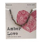 Baltic Amber Children's Necklace - Olive Love 33cm