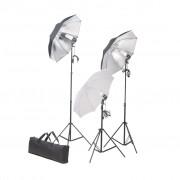 vidaXL Súprava štúdiového osvetlenia so statívmi a dáždnikmi