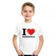 Bellatio Decorations Wit I love basketbal t-shirt kinderen