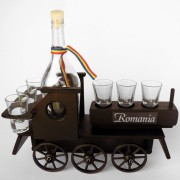Minibar din lemn locomotiva cu 6 pahare si sticla
