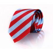 Krawatte Seide Rot - Blau Streifen FD08 - Blau