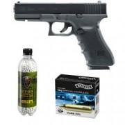 Set pistol airsoft 2 jouli + 10 capsule CO2 + flacon 2700 buc bile 0.25 g Umarex Glock 22 Gen4 calibru 6 mm