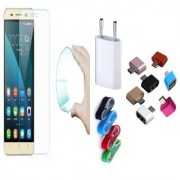 Gionee Pioneer P5L 03mm Curved Edge HD Flexible Tempered Glass with Nylon USB Travel Charger and Micro USB OTG Adaptor