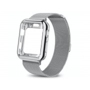 Bransoleta etui Alogy 2w1 pasek stalowy do Apple Watch 4 42mm srebrna