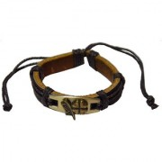 Men Style New Fashion Antique Bronze Lucky Friendship With Cotton Dori Clasp Black Leather Round Bracelet For Men And Women