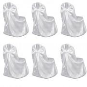 vidaXL Калъфи за столове, сватба, бели – 6 броя