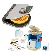 Melissa & Doug and Melissa & Doug Bundle Includes 2 Items - Melissa & Doug Press and Serve Wooden Waffle Set - Play Food and Kitchen Accessories and Melissa & Doug 11-Piece Brew and Serve Wooden Coffee Maker Set