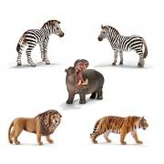 SuePerior Living Schleich Wild Life Zoo Playset - Schleich Animals Set - Zebras Hippopotamus Lion Tiger