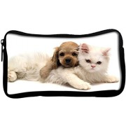 Snoogg Puppy With Persian Cat Poly Canvas Student Pen Pencil Case Coin Purse Utility Pouch Cosmetic Makeup Bag
