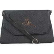 Kandel London Women Casual Black Leatherette, PU, Cotton Sling Bag