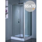 Box cabina doccia in cristallo trasparente mm 6 mod. Indira cm. 65x70