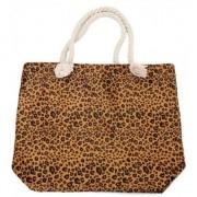Merkloos Shopper/boodschappen tas luipaard/panter print bruin 43 cm