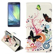Color Butterfly Pattern Horizontal Flip Leather Case with Holder & Card Slots for Samsung Galaxy A7 / A700F