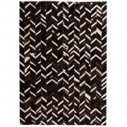 vidaXL fekete/fehér, foltvarrott, valódi bőr szőnyeg 120 x 170 cm