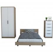 Cama 1,5 PL + Closet 2 Puertas + Comoda 5 Cajones TuHome Miel/Blanco