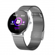 F25 Color Large Round Touch Screen Heart Rate Monitoring Waterproof Smart Watch [Metal Strap] - Grey